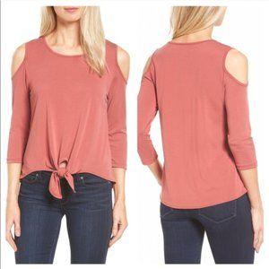 NWT Boubeau Cold Shoulder Tie L P Marsala Pink
